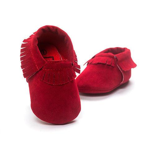 Baby Tassel Slip On Pure Color Flat Soft Sole Shoes