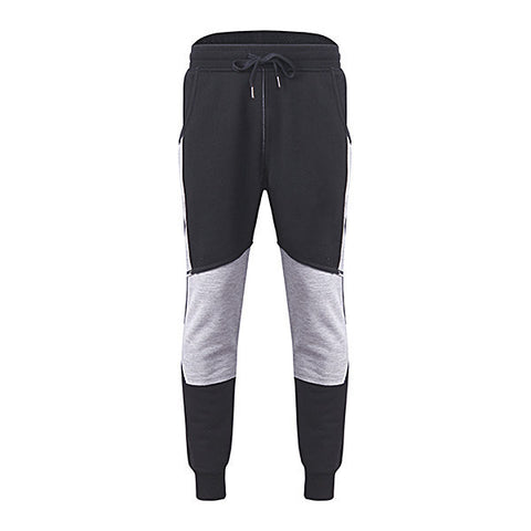 Mens Fashion Sport Pants Elastic Waist Drawstring Fleece Lined Stitching Color Casual Sportwear