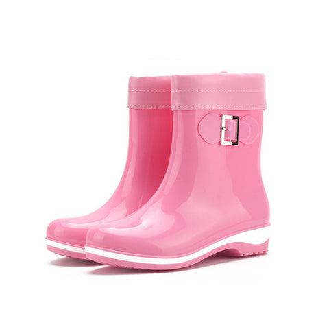 Ankle Pattern Flat Slip On Waterproof Casual Rain Boots
