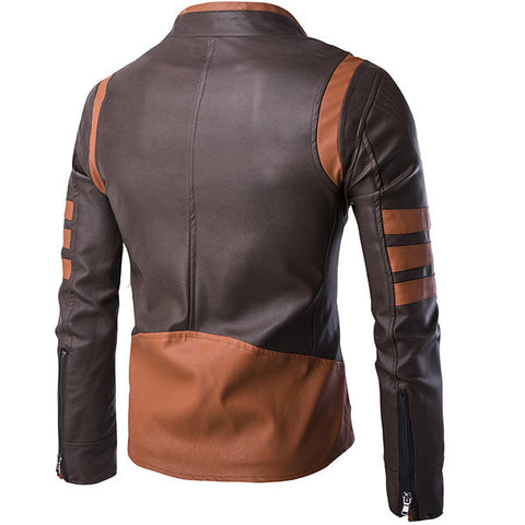 Plus Size Fashion Motorcycle Stitching PU Leather Stand Collar Jacket for Men