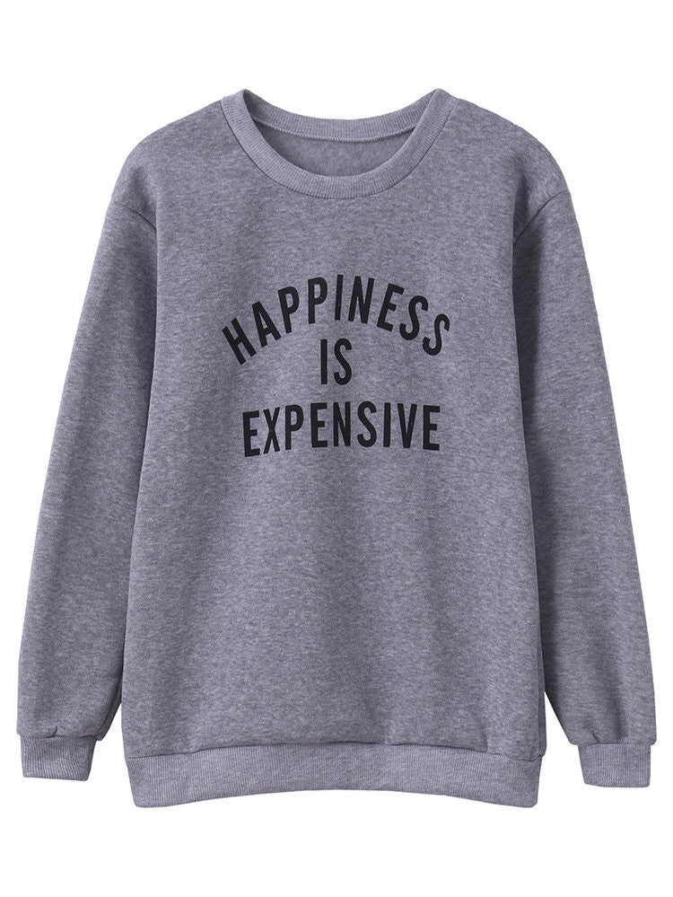 Women Letter Print Pullover Long Sleeve Sweatshirt