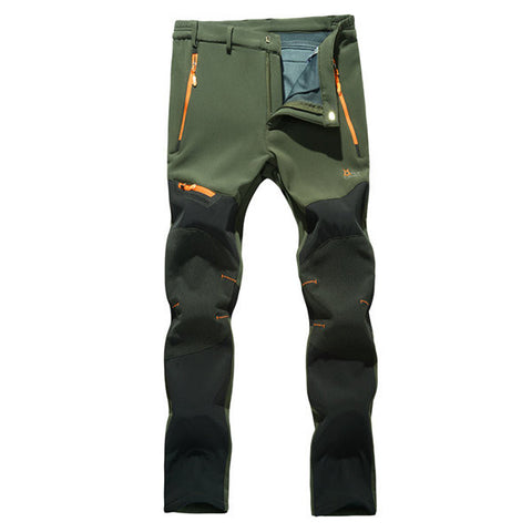 Mens Outdoor Durable Soft Shell Water-repellent Quick-Dry Breathable Stitching Color Sport Pants
