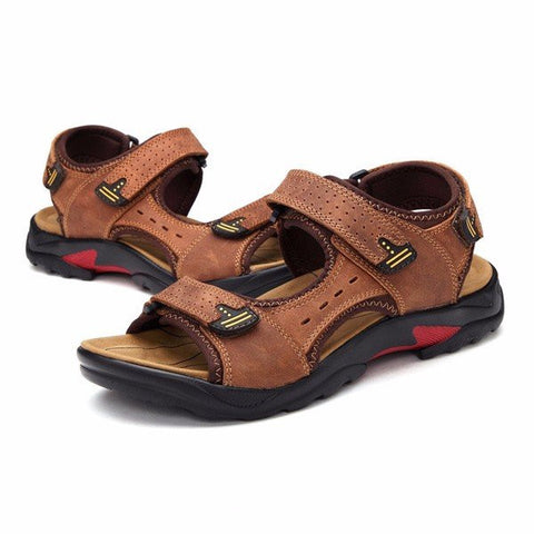 Men Big Size Leather Hook Loop Hollow Out Outdoor Beach Sandals