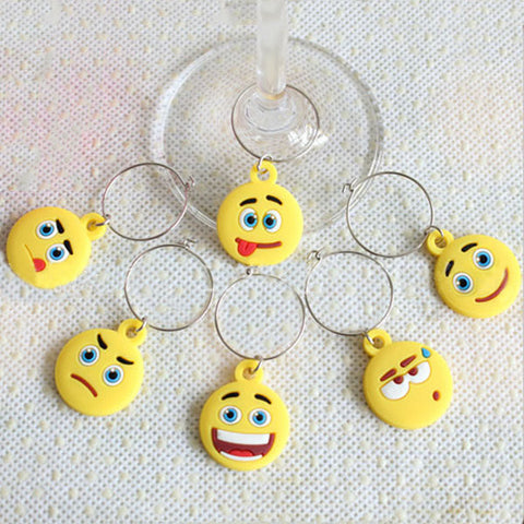 6 Pieces Set Emoji Wine Glass Pendant PVC Smile Sad Face Wine Pendant  Wine Glass Ring