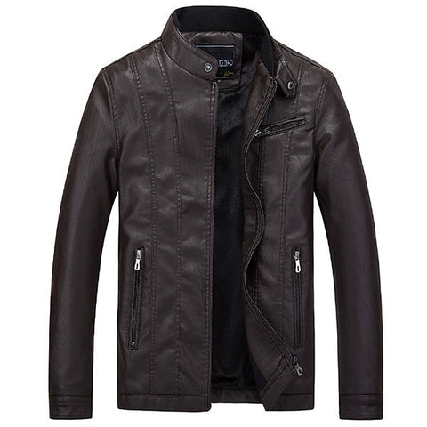 Casual Motorcycle Inside Thicken Fleece Slim Button Stand Collar PU Leather Jacket For Men