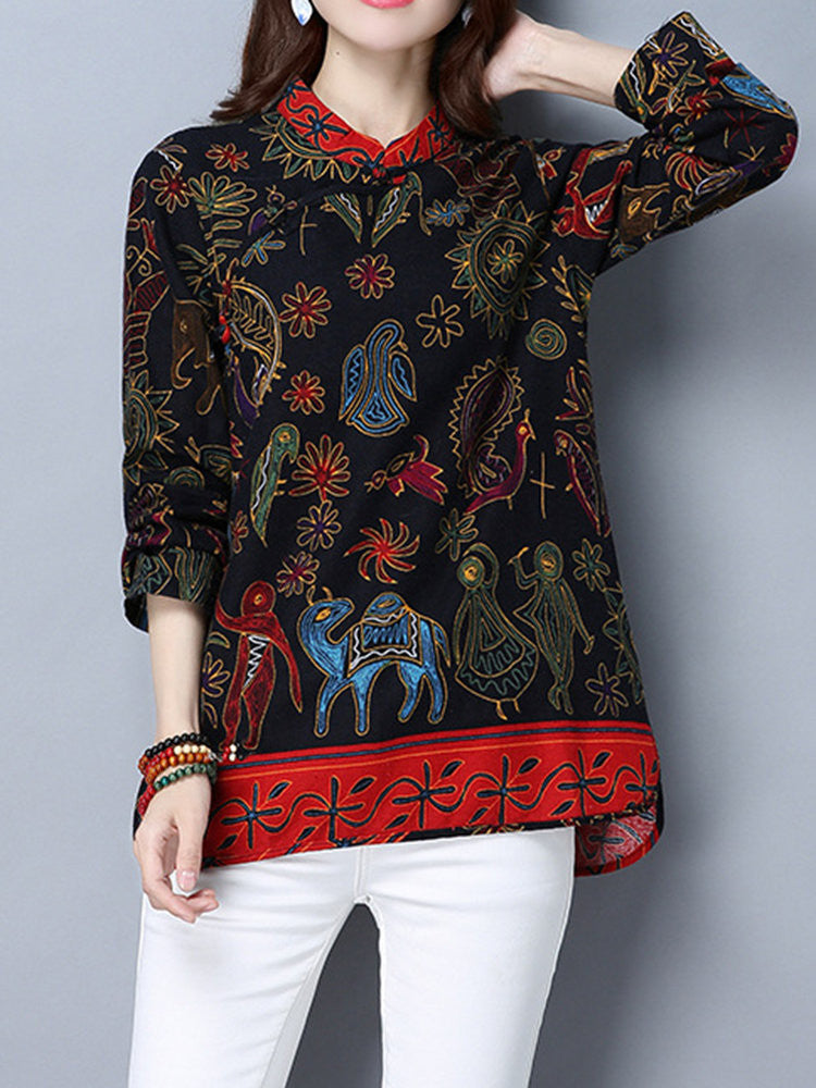 Sue Chinese Style Plate Buttons Floral Printed Blouse