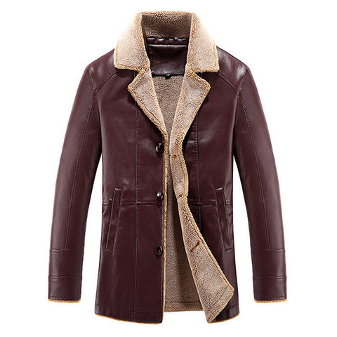 Winter Outdoor Causual Thicken Warm PU Leather Turn-Down Collar Jacket for Men