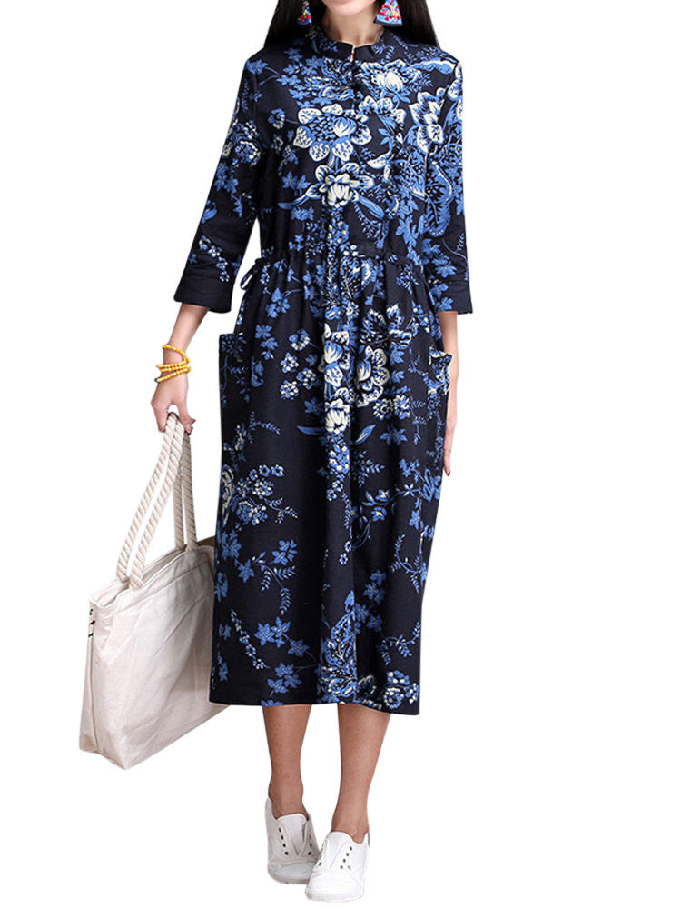 Sira Floral Mandarin Collar Dress