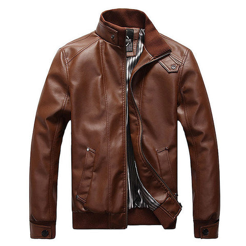 Motorcycle PU Leather Fashion Casual Slim Fit Jacket Stand Collar Plus Size Coat For Men