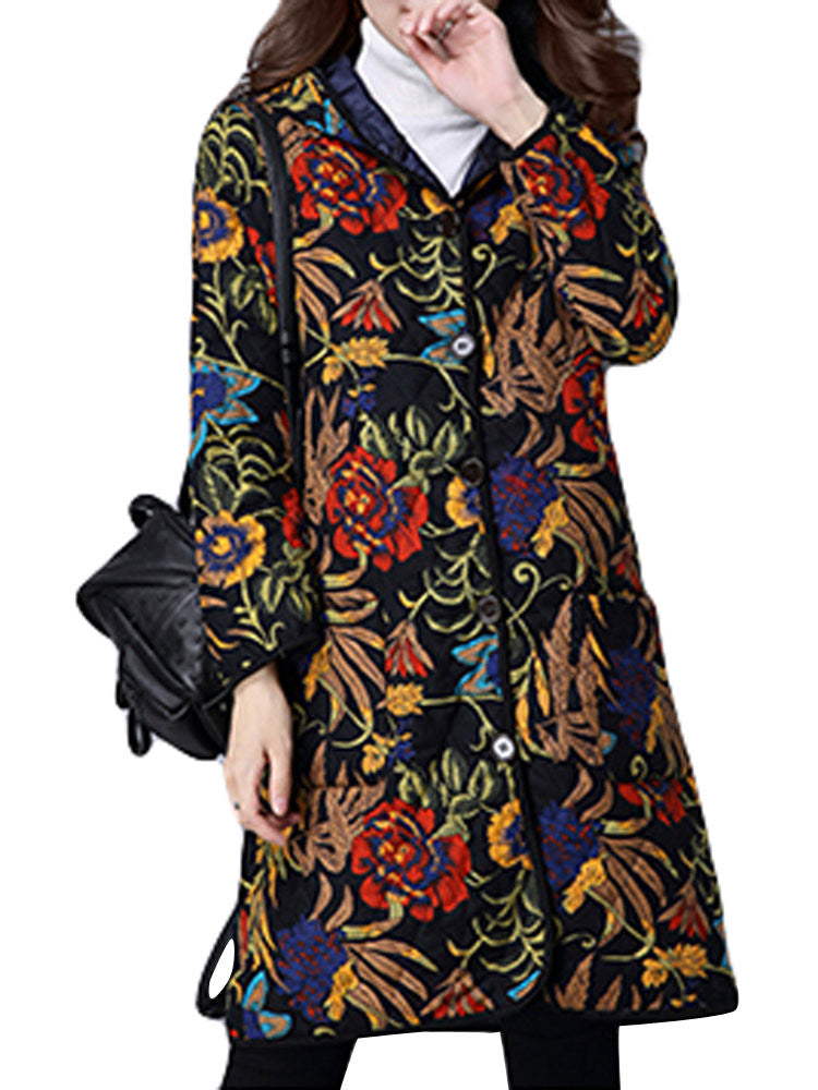 Ethnic Vintage Printing Hooded Long Sleeve Coat For Women