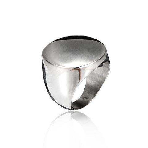 Round Polished Silver Titanium Steel Ring