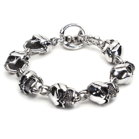 316L Stainless Steel Skull Toggle Silver Bracelet