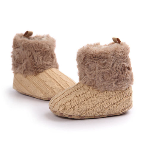 Baby Furry Slip On Knitting Weave Flat Warm Shoes