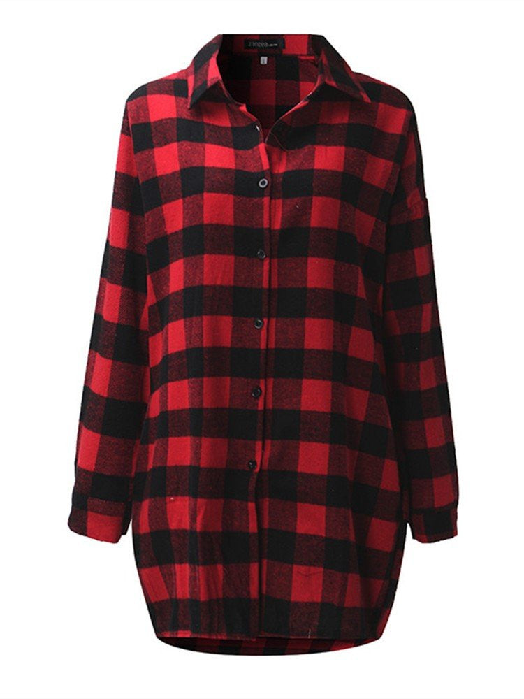 Sera Plaid Buttons Shirt Dress