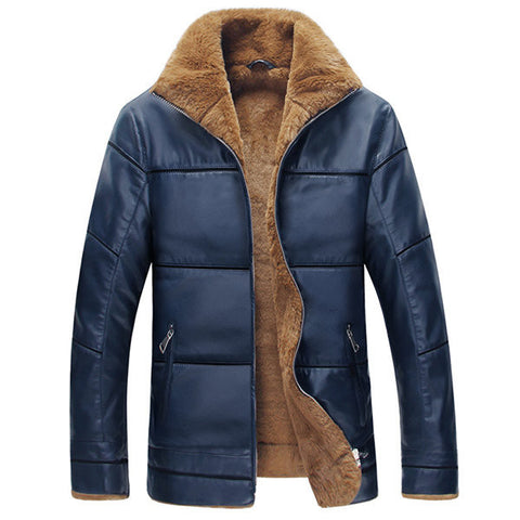 S-6XL Plus Size Winter Thicken Warm PU Leather Stand Collar Jacket for Men