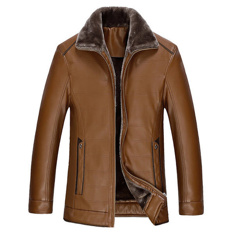 Winter Casual Business Thicken Warm PU Leather Jacket Turn-Down Collar Jacket for Men
