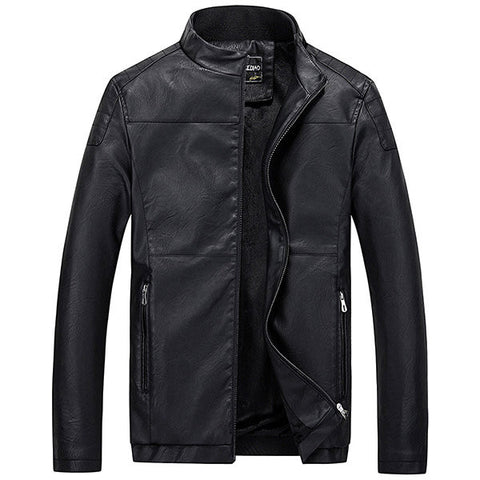 Casual Business Thick Fleece Warm Motorcycle PU Leather Stand Collar Jacket For Men