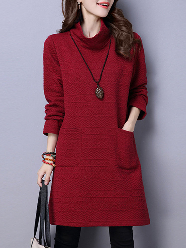 Sue Embossed Pocket High Collar Dress