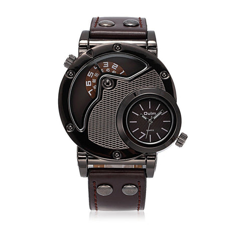 OULM Men Watch Casual Charming Alloy Leather Two Movements Watch