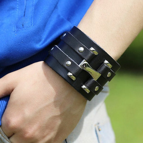 Double Loop Wide Snap Button Rivet Leather Bracelet