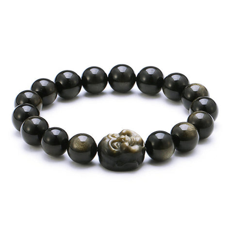 12mm Gold Obsidian Bracelet Natural Crystal Maitreya Buddha For Men
