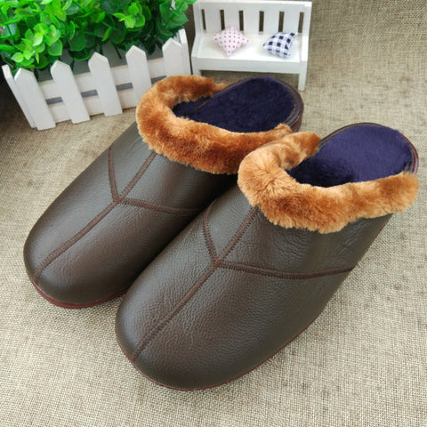 Men's Leather Waterproof Soft Sole Non-slip Warm Fur Lining Slippers