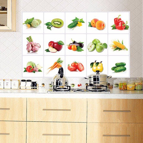 Kitchen Vegetable Fruit Oil-proof Wall Sticker Removable Waterproof Sticker Home Decor