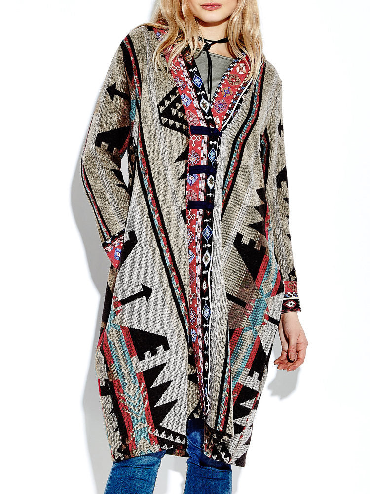 Women Vintage Printed Plate Buckles Coat