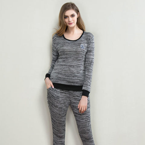 Casual Elastic Breathable Long Sleeve Sleepwear Sets Ninth Pants Pajamas For Women