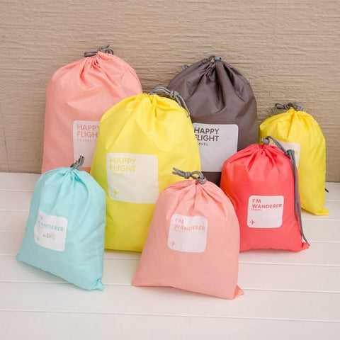 4 Pcs Nylon Waterproof Travel Drawstring Storage Bag Clothes Tidy Organizer