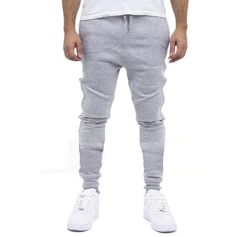 Mens Fashion Sport Pants Elastic Waist Drawstring Solid Color Casual Sportwear