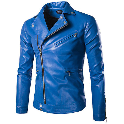 PU Leather Jacket Casual Fashion Motorcycle Zipper Decoration Plus Size Coat For Men