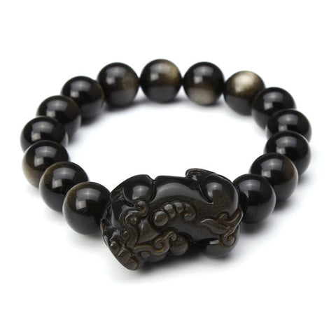 12mm Natural Gold Obsidian Men Bracelet Brave Troops Pixiu Bracelet