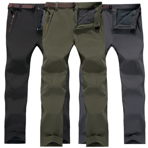 Mens Big Size Outdoor Elastic Waist Soft Shell Fleece Lining Waterproof Quick-Dry Skiing Trouser