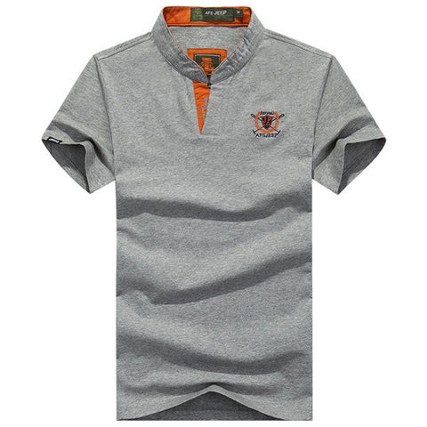 Mens Solid Color Logo Printing Polo T-shirts