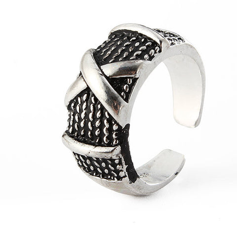 Retro Adjustable Ring X Words Silver Plated Cool Men Ring Jewelry Accessories