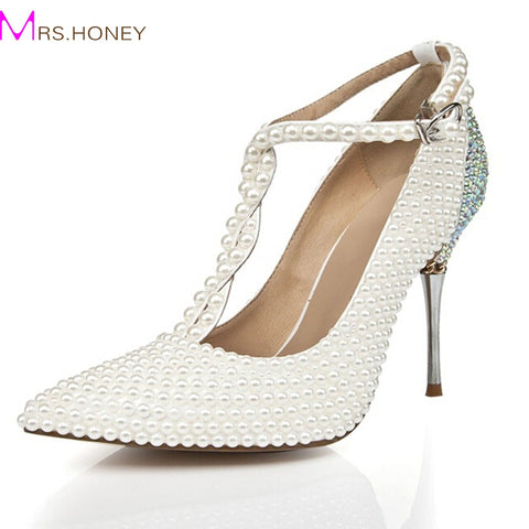 2016 T-strap Ivory Wedding Shoes with Rhinestone Pointed Toe Stiletto Heels Nightclub Club Shoes Wedding Party Prom Pumps