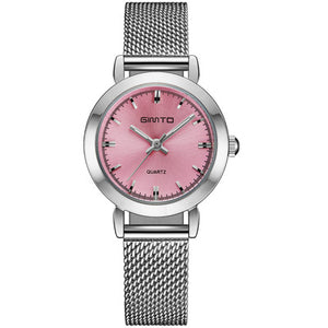 GIMTO Brand Women Quartz Silver Watch Metal Bracelet Wrist Watches Analog Ladies Dress Hand Clock Montre Femme