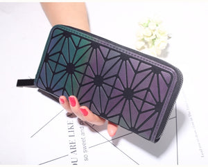 Women Geometry Three Folds Wallets Women Long Wallet Purse Luminous Zipper Ladies Clutch Bag Female Card Holder Carteira