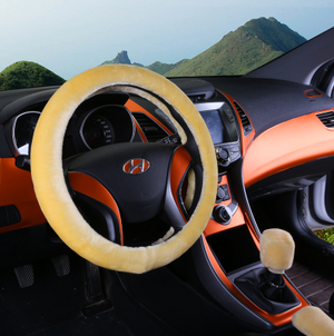Winter imitation wool car cover plush steering wheel cover