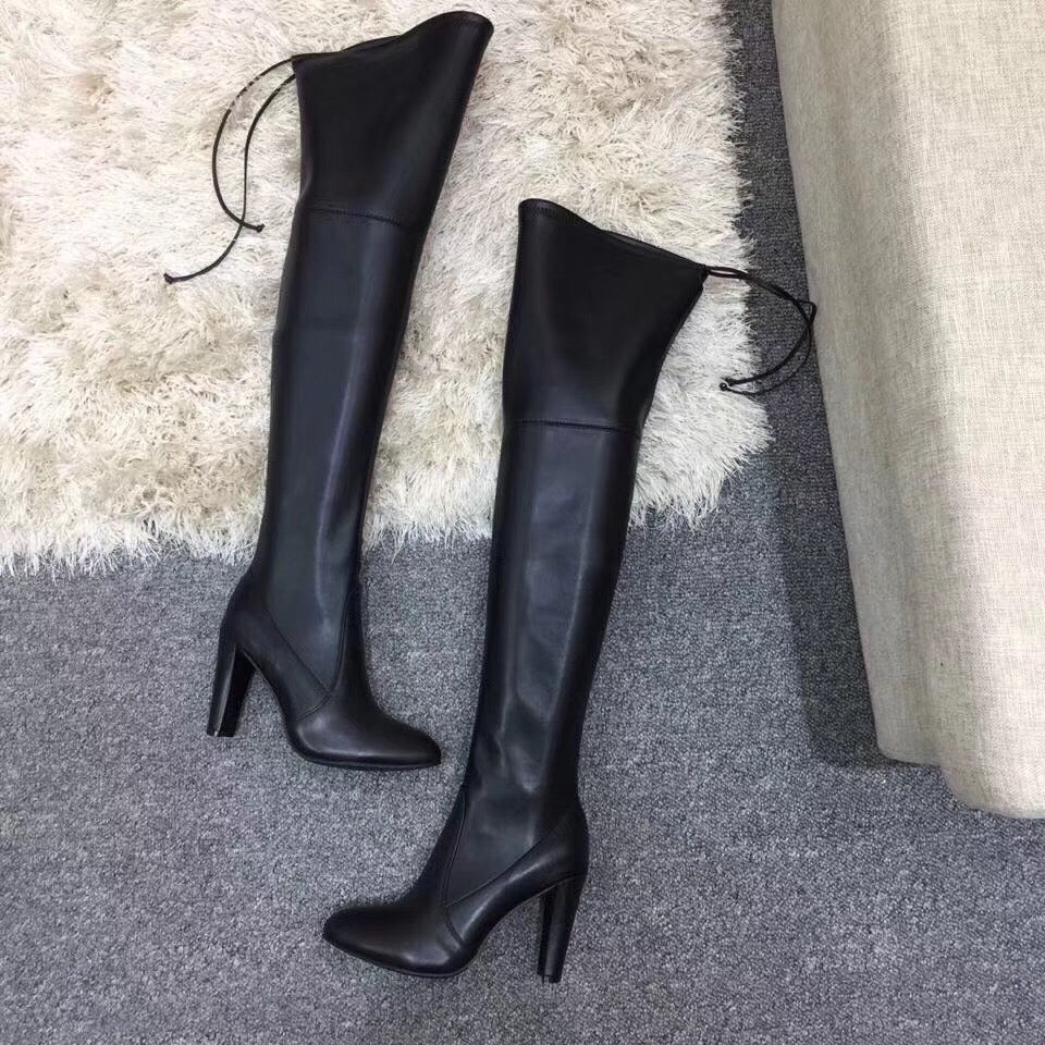 Polished Leather Thigh High Signature Boots
