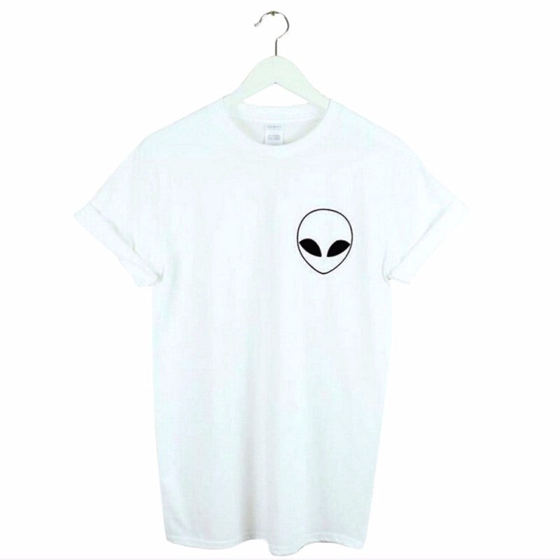 2020 new alien Alien print black and white summer hot wild short-sleeved slim round neck T-shirt