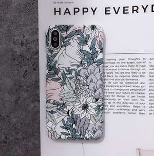 White leaf oil painting morning glory flower phone case
