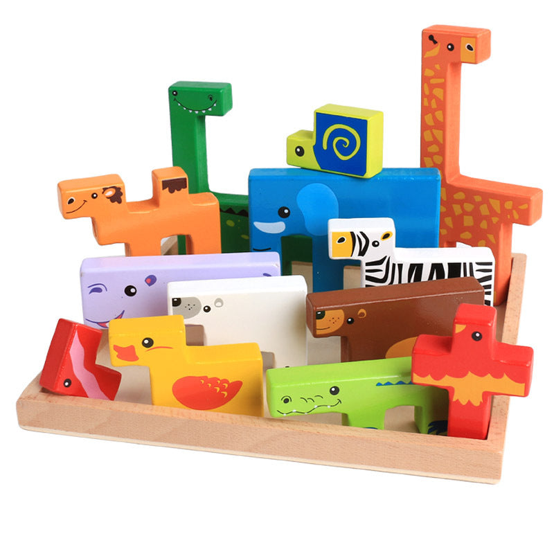 High Quality Baby Wooden Toys 3D Blocks Animal Building Blocks Stack Blocks Beech Wood Creative Children Birthday Christmas Gift
