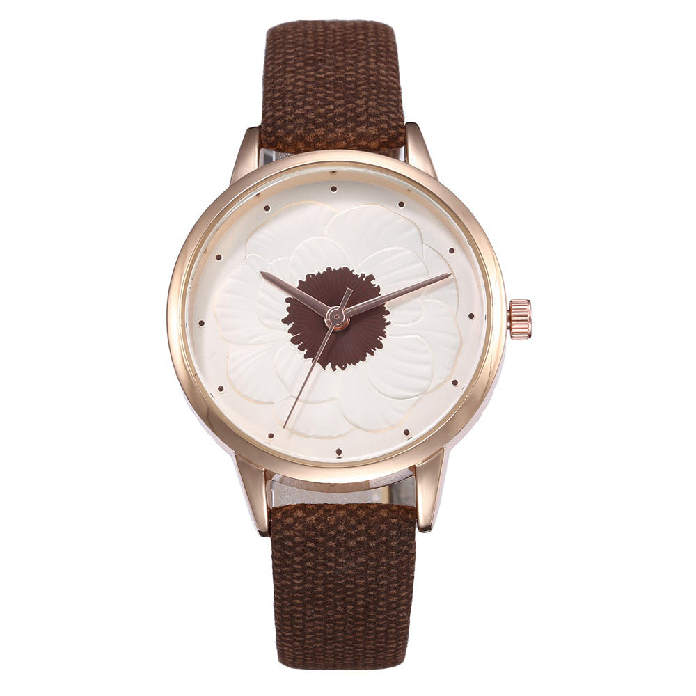 3D flower dial fashion simple quartz watch