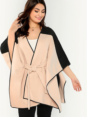 Distinguished Two Tone Belted Poncho
