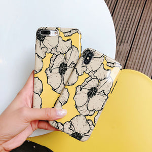 USLION Shiny Flower Case for iPhone 7 Plus XS Max XR X Diasy Floral Phone Case Capa For iPhone 6 6s 7 8 Plus Soft TPU Cover
