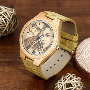 Women's Engraved Bamboo Photo Watch Wooden Leather Strap 40mm