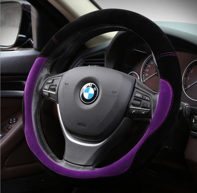 Plush steering wheel cover flocking warm car handle