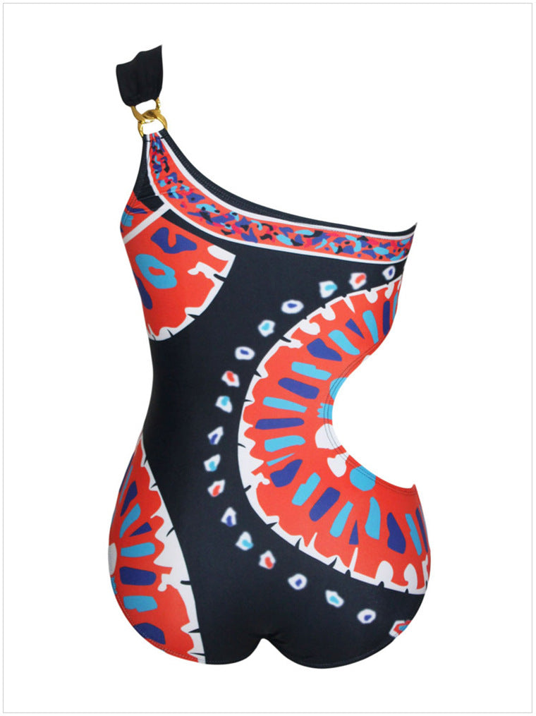 One-shoulder crossbody Indian style printed triangle one-piece one-piece swimsuit female European and American foreign trade AliExpress
